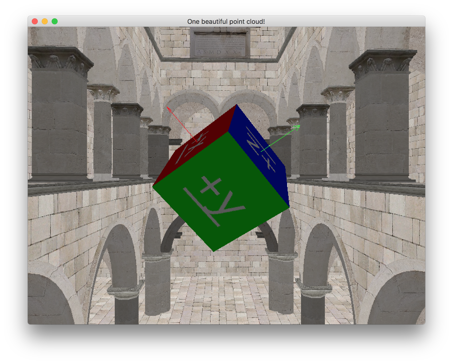 A rotated cube. Red and green arrows can be seen emerging from two sides; presumably a matching blue arrow protrudes from the side facing away from the camera.